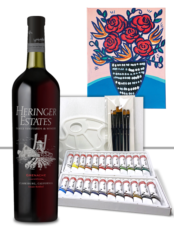 Wine and Paint Valentine's Day Date Gift Set for 2